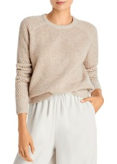 AQUA Cashmere Shell Stitch Sleeve Cashmere Sweater - 100% Exclusive