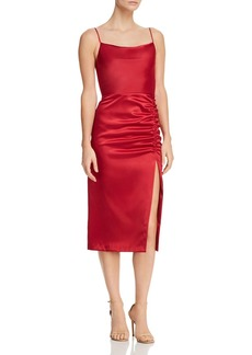 AQUA Sleeveless Ruched Midi Dress - 100% Exclusive