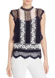 AQUA Sleeveless Semi-Sheer Lace Top - 100% Exclusive