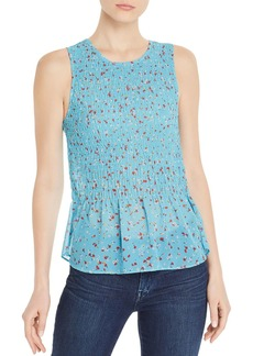 AQUA Sleeveless Smocked Floral-Print Top - 100% Exclusive