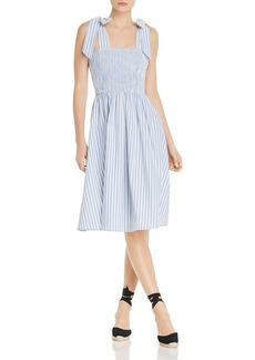 AQUA Sleeveless Striped Smocked Midi Dress - 100% Exclusive
