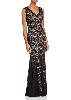 Aqua Sleeveless V-Neck Lace Gown - 100% Exclusive