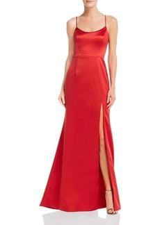 AQUA Slit Satin Gown - 100% Exclusive