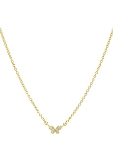 "AQUA Small Embellished Butterfly Pendant Necklace in 14K Gold-Plated Sterling Silver or Sterling Silver, 16"" - 100% Exclusive"