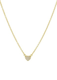 "AQUA Small Embellished Heart Pendant Necklace in 14K Gold-Plated Sterling Silver or Sterling Silver, 16"" - 100% Exclusive"