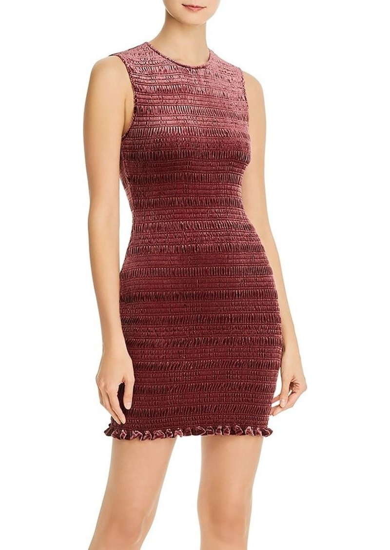 AQUA Smocked Body-Con Velvet Dress - 100% Exclusive