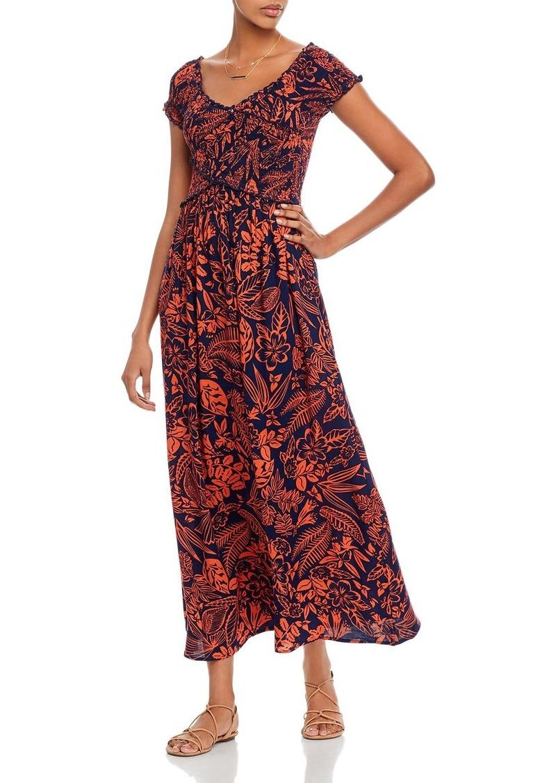 AQUA Smocked Botanical Maxi Dress - 100% Exclusive