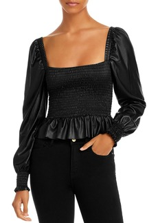 AQUA Smocked Faux Leather Top - 100% Exclusive