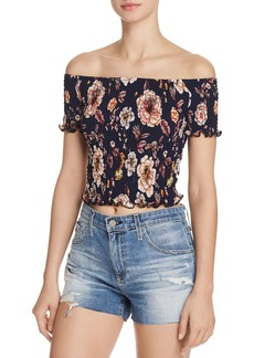 AQUA Smocked Floral Cropped Top - 100% Exclusive