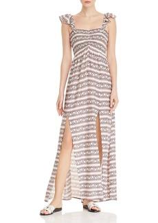 AQUA Smocked Geometric Print Maxi Dress - 100% Exclusive