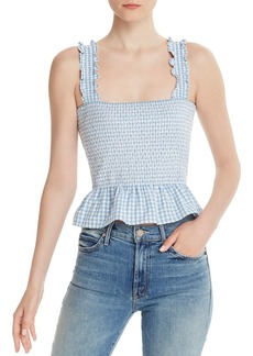 AQUA Smocked Gingham Cropped Top - 100% Exclusive
