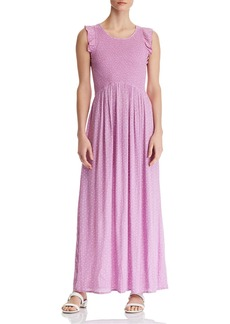 AQUA Smocked Polka Dot Maxi Dress - 100% Exclusive