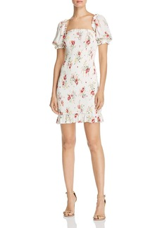 AQUA Smocked Puff-Sleeve Floral Dress - 100% Exclusive