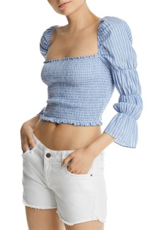 AQUA Smocked Striped Cropped Top - 100% Exclusive