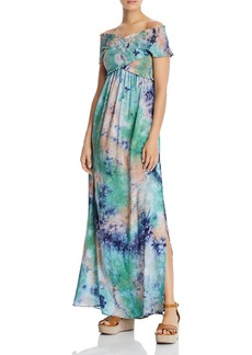 AQUA Smocked Tie-Dye Maxi Dress - 100% Exclusive