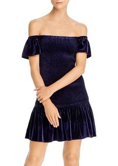 AQUA Smocked Velvet Off-the-Shoulder Dress - 100% Exclusive
