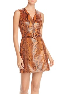 AQUA Snake Print Faux-Leather Belted Dress - 100% Exclusive