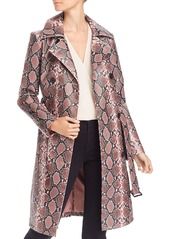 AQUA Snake Print Faux-Leather Trench Coat - 100% Exclusive