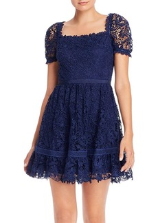 AQUA Square Neck Lace Mini Dress - 100% Exclusive