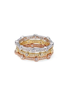 AQUA Stackable Multicolor Pav� Rings in Platinum-Plated Sterling Silver, 18K Gold-Plated Sterling Silver or 18K Rose Gold-Plated Sterling Silver - 100% Exclusive