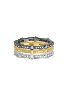 AQUA Stackable Tricolor Pav� Rings in Platinum-Plated Sterling Silver, Hematite-Plated Sterling Silver or 18K Gold-Plated Sterling Silver - 100% Exclusive