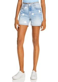 AQUA Star Print Denim Shorts in Light Wash - 100% Exclusive