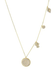 "AQUA Station Charm & Pendant Necklace in 18K Gold-Plated Sterling Silver, 16"" - 100% Exclusive"