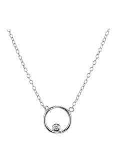 "AQUA Pav� Circle Pendant Necklace in Gold Tone-Plated Sterling Silver or Sterling Silver, 16"" - 100% Exclusive"