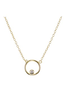 """AQUA Pav� Circle Pendant Necklace in Gold Tone-Plated Sterling Silver or Sterling Silver, 16"""" - 100% Exclusive"""