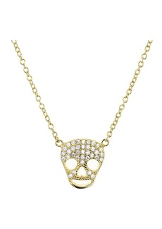 "AQUA Sterling Silver Skull Pendant Necklace, 15"" - 100% Exclusive"