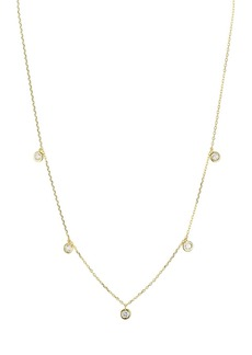"""AQUA Sterling Silver Thin Chain Circle Drop Necklace, 16"""" - 100% Exclusive"""