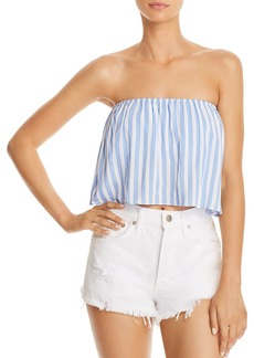 AQUA Strapless Striped Cropped Top - 100% Exclusive