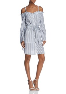 Aqua Striped Cold-Shoulder Shirt Dress - 100% Exclusive
