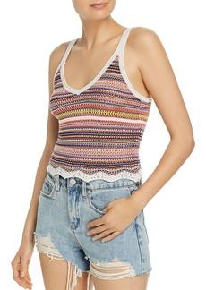 AQUA Striped Crochet Cropped Top - 100% Exclusive