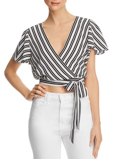 AQUA Striped Cropped Faux-Wrap Top - 100% Exclusive