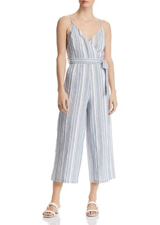 AQUA Striped Cropped Wide-Leg Jumpsuit - 100% Exclusive