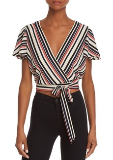 AQUA Striped Faux-Wrap Cropped Top - 100% Exclusive