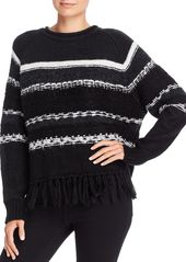 AQUA Striped Fringed Crewneck Sweater - 100% Exclusive