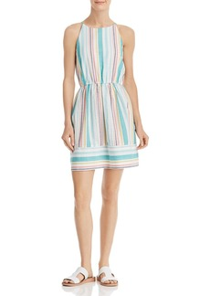 AQUA Striped High-Neck Fit-and-Flare Dress - 100% Exclusive