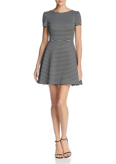 AQUA Striped Knit Skater Dress - 100% Exclusive