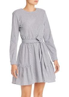 AQUA Striped Poplin Fit-and-Flare Dress - 100% Exclusive