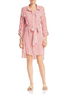 AQUA Striped Roll-Sleeve Shirt Dress - 100% Exclusive