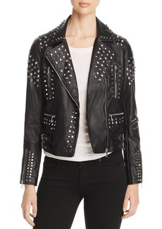 AQUA Studded Faux-Leather Moto Jacket - 100% Exclusive