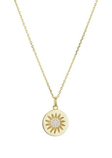 """AQUA Sunburst Disc Pendant Necklace in Gold-Plated Sterling Silver, 16"""" - 100% Exclusive"""