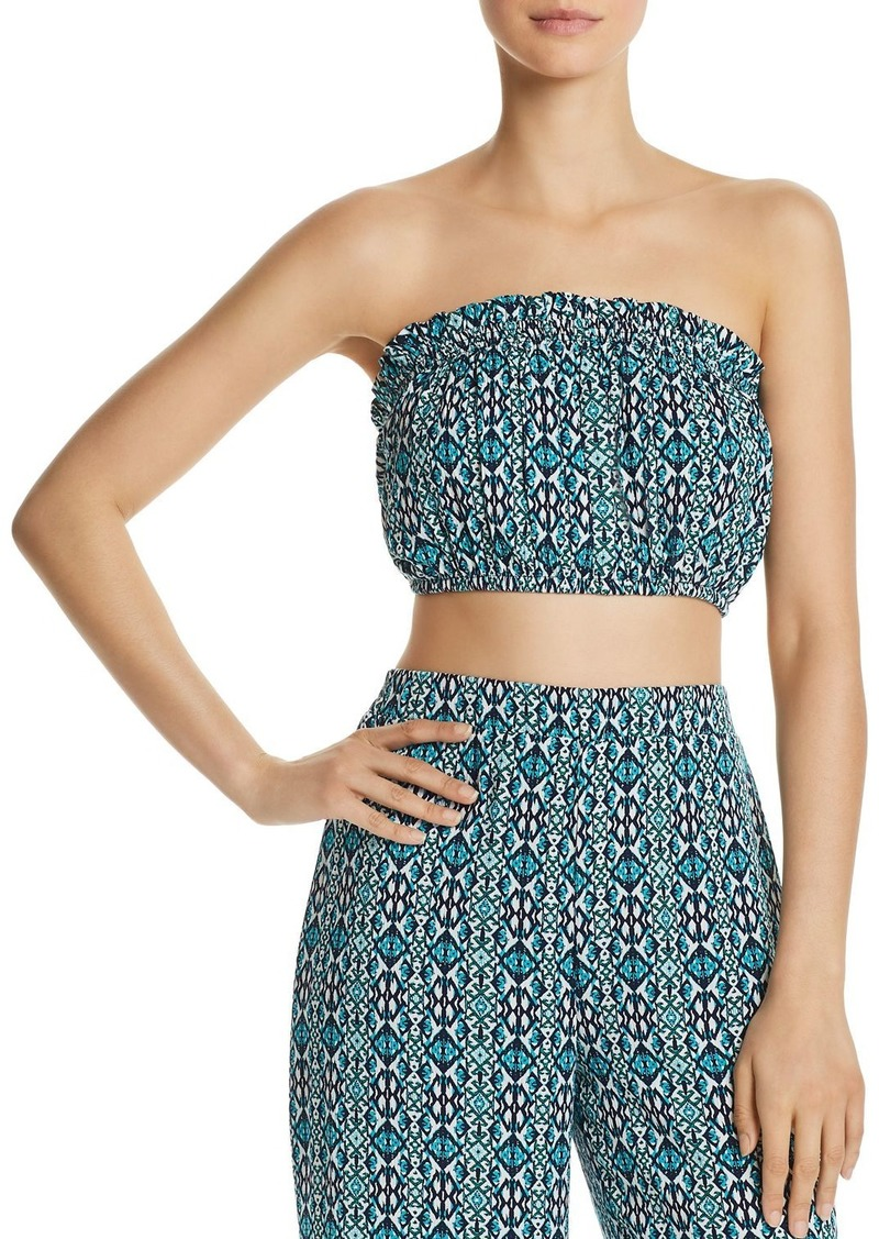 AQUA Tapestry-Print Strapless Crop Top - 100% Exclusive
