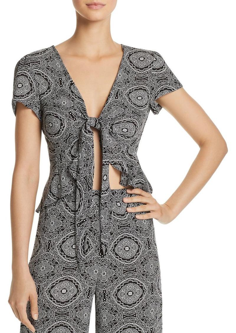 AQUA Tapestry-Print Tie-Front Crop Top - 100% Exclusive