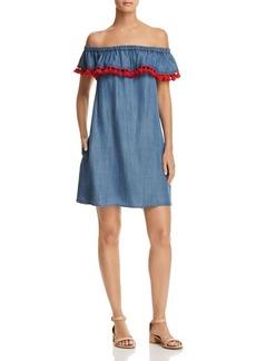 AQUA Tassel Off-the-Shoulder Chambray Dress - 100% Exclusive