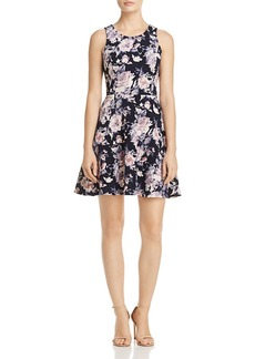 AQUA Textured Floral Print Fit-and-Flare Dress - 100% Exclusive