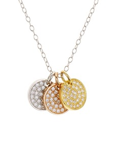 "AQUA Pav� Tricolor Disc Pendant Necklace in Platinum-Plated Sterling Silver, 18K Gold-Plated Sterling Silver or 18K Rose Gold-Plated Sterling Silver, 14"" - 100% Exclusive"