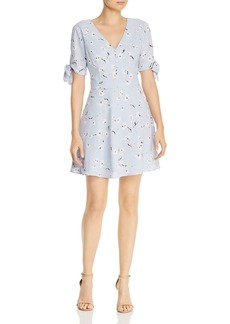AQUA Tie-Cuff Floral Fit-and-Flare Dress - 100% Exclusive